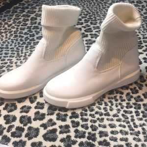 White leather & roll down or up wool booties!!!